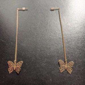Aldo Dangling Gold Butterfly Earrings